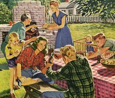 Coca Cola Cookout, art by Al Moore.  1946 Auf rogerwilkerson.tumblr.com http://www.pinterest.com/emie58/retro-photos-and-illustrations/