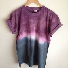 Dip Dye Tie Dye T-Shirt Unisex, Purple and Black/Navy