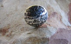 Love, Believe, Hope, Endure - Sterling Silver Message Ring from Sweet Sweet Silver only $39.00