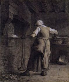 ‎'Woman baking bread (drawing with chalk)' by Jean-François Millet, 1852-56