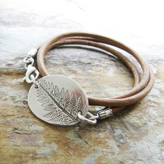 Triple Wrap Leather Bracelet with Silver Fern Link by SilverWishes, $78.00