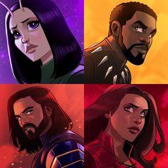 Wanda, Bucky, Tchalla, Mantis