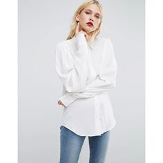 ASOS Blouse with Exaggerated Sleeve (€23) ❤ liked on Polyvore featuring tops, blouses, white, viscose blouse, viscose tops, white top, white rayon blouse and asos