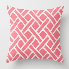 This listing is for one pillow cover. Sparrowsong Savannah Trellis in pink and soft white. Conveys a feminine, preppy, chinoiserie feel.