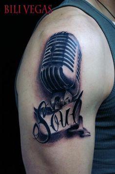 Soul Mic Tattoo On Upper Arm