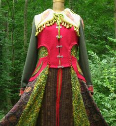 Patchwork felted SWEATER COAT woodland pixie by amberstudios