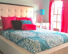 I like the pink and the patterned bed teen bedrooms, bed frames, bedroom decor, bedroom idea, new bedroom, teen bedding ideas, teen bedroom bedding, dream bed, pink bedrooms