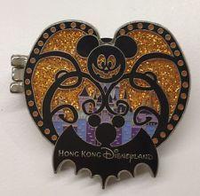 Disney Pin Hong Kong Disneyland Halloween Pumpkin Mickey Bat Halloween Pin Rare
