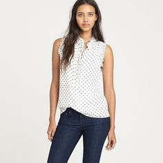 Wear polka-dots with confidence, again. (ruffles at neck add texture and volume 'up-top'.