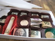 Fun fake out! Gift idea for an older kid or one going to college.  Imagine his/her disappointed face when you hand him/her this box of chocolates followed by a big grin when s/he sees whats actually inside  :) - Someone do this for me for graduation? (: