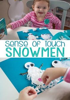 This sense of touch snowman collage was so much fun! We loved feeling all the different sensory craft materials.