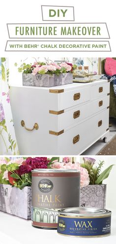 We're loving this DIY furniture makeover project from Monica, of Monica Wants It. She used BEHRⓇ Chalk Decorative Paint in White and BEHRⓇ Wax Decorative Finish in Clear to add a classic neutral style to this campaign chest. Click below for her full tutorial to learn how.