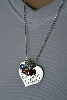 Stainless Steel Personalized Heart Mother's by LauriginalDesigns, $40.00