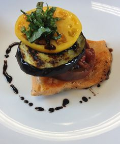 Grilled Arctic Char with Eggplant and Tomato Salad | #sustainable #seafood #recipe