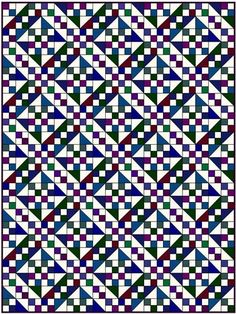 Jacob's Ladder quilt pattern-many fabrics - a change here, a change there and there's no end to the quilts that can be made, none alike.