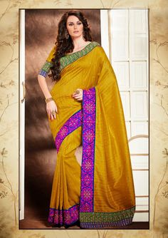 Mustard Bhagalpuri Saree With Blouse 58403