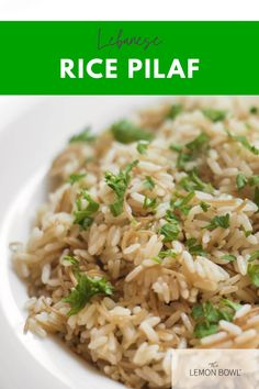 A staple in Middle Eastern cuisine, Lebanese Rice Pilaf is made with vermicelli noodles toasted in clarified (rendered) butter Rice Recipes, Vegetarian Recipes, Delicious Recipes, Rice Pilaf Recipe, Eat Greek, Lemon Bowl, Food Gallery, Eastern Cuisine, Lebanese Recipes