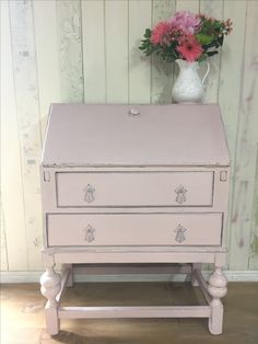 Writing bureau, painted in Annie Sloan Chalk Paint Antoinette, moderately distressed, and sealed with Annie's soft clear wax.