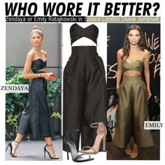 Who Wore It Better?Zendaya or Emily Ratajkowski in Solace London Divine Jumpsuit by kusja on Polyvore featuring Stuart Weitzman, Coleman, WhoWoreItBetter, zendaya, wwib and emilyratajkowski
