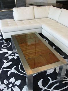 Stainless steel rust epoxy table by Dawson Metal Design