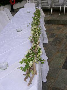 γιρλάντα από θαλασσόξυλα κισσο και ορχιδέες για το νυφικό τραπέζι..Δεξίωση | Στολισμός Γάμου | Στολισμός Εκκλησίας | Διακόσμηση Βάπτισης | Στολισμός Βάπτισης | Γάμος σε Νησί & Παραλία.Driftwood Centerpiece, Driftwood Candle Holder Table Decorations, Flowers, Furniture, Wedding Ideas, Home Decor, Centerpieces, Mesas, Decoration Home, Room Decor
