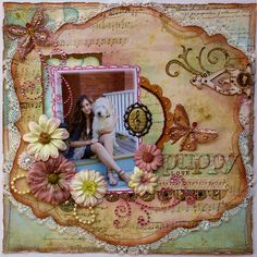 Scrapbook page made using the Bo Bunny Et Cetera collection ~ Gabrielle