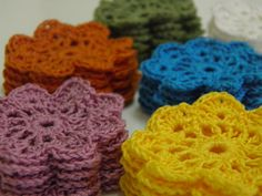 6 pcs Applique Crochet flower 22 in Posies 8 petals by AubreyMade,