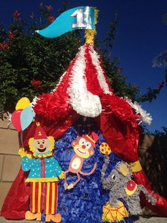 Circus Tent custom hand made piñata under the big top circus birthday circus tent pinata carnaval party decoration on Etsy, Www Facebook.com/angelaspinatas