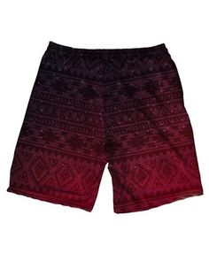Aztec Sunset Men's All Over Print Athletic Shorts-Red-Back