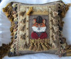 HUNT FOX Designer American Handmade Decorative Accent Pillow, One of a Kind Embroidery Punch Needle by HeirloomPillows on Etsy Bird Wings, True Art, Handmade Pillows, Designer Pillow, Punch Needle, Handmade Decorations, Rug Making, Accent Pillows, All Things