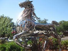 Spirit.  Chrome horse at Safeway, 15th Street in Sacramento, California.  Artist Sean Guerrero of Colorado.