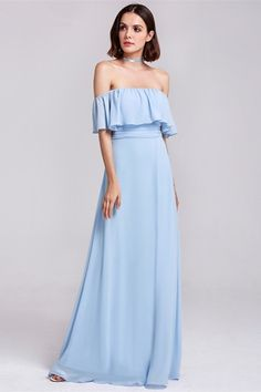 7f8ea94ed04b Sexy Off The Shoulder Side Slit Ruched Light Blue Chiffon A Line Prom  Evening Dress