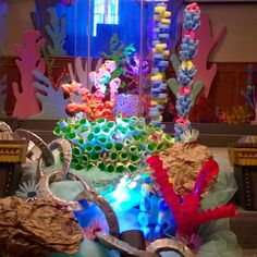 FBC Whitewright TX lighting really makes things pop! Mermaid Under The Sea, Under The Sea Theme, Under The Sea Party, The Little Mermaid, Moana Birthday Party, Mermaid Birthday, Nemo Y Dory, Under The Sea Decorations, Ocean Party