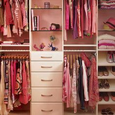 This closet re-design requires a closet system, & that can be pricey. But I love that a chest of drawers was added along with display space for her treasures.
