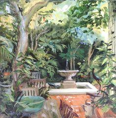 Verdant Newlands courtyard  - acrylic 250x 250 www.patriciafraser.co.za