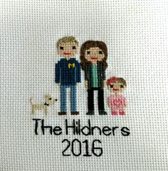 Custom Cross Stitch Family Portrait Realistic Hair by StitchACT