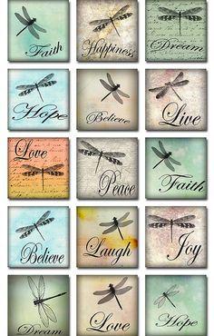 Dragonflies Ephemera Inspirational Words Watercolor 2 inch Square Digital…