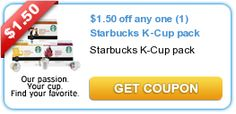 $1.50 off any one (1) Starbucks K-Cup pack  New coupons and deals for active seniors daily at www.SeniorSpotChicago.com