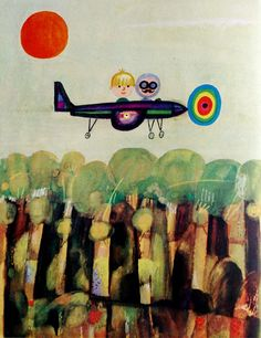 "illustration by Danuta Konwicka This is a polish childrens book called ""the pilot and me"" by Adam Bahdaj, printed in Book Design Inspiration, Decoupage, Kids Story Books, Children's Book Illustration, Simple Art, Illustrations Posters, Amazing Art, Illustrators, Art Prints"