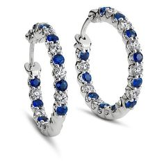 Blue Nile Sapphire and Diamond Hoop Earrings in 18k White Gold ($2,100) ❤ liked on Polyvore