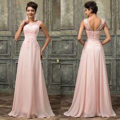 Chiffon Satin PINK  Wedding Ball Gown Evening Formal Party Prom Bridesmaid Dress #GraceKarin #BallGown
