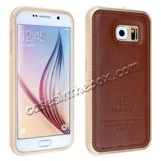 Aluminum Metal Bumper With Genuine Leather Back Case Cover For Samsung Galaxy S6 - Gold Brown US$34.99
