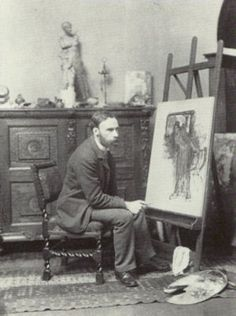 Photograph by Ralph W. Robinson, 200 x 153 mm, published in Members and Associates of the Royal Academy of Arts, 1891, photographed in their Studios (1892). National Portrait Gallery, London.