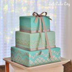 Salt Cake City (Www.SaltCakeCity.com) teal & silver square wedding cake Square Wedding Cakes, Salt, City, Silver, Square Shaped Wedding Cakes, Salts, City Drawing, Silver Hair, Cities