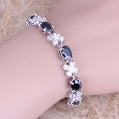 Good-Looking White Topaz Black Sapphire 925 Sterling Silver Overlay Link Chain Bracelet 7 inch Free Shipping & Gift Bag S0520  #chain #designerdivajewelry #bracelets #jewellery #jewelry #weddingjewelry #rings #earrings #bridal #pendants