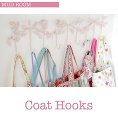 Coat Hooks by Torie Jayne Coat Hooks, Craft Storage, Staying Organized, Home Organization, Clothes Hanger, Diy Crafts, Woodwork, Floral, Pretty
