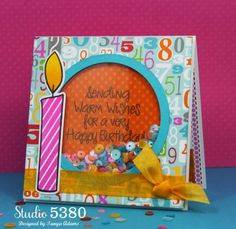 candles4birthday and morecandles2stamp Shaker Card