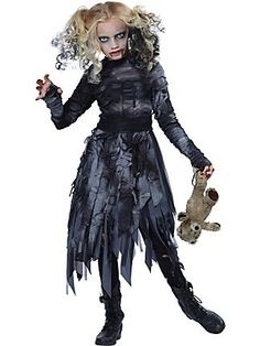 #00488 You'll look like you've risen from the grave when you shamble around on Halloween night in this costume. This faded black and ashen gray dress has long sleeves with a set of thumb-holes for you