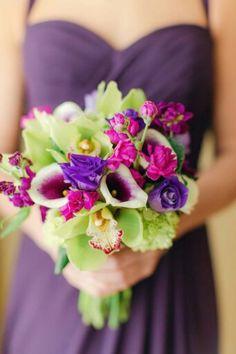 Bridesmaid's Bouquet: Purple Lisianthus, Fuchsia Stock, White/Purple Picasso Calla Lilies, Lime Cymbidium Orchids + Green Hydrangea