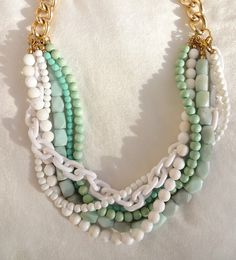 """Girl From Ipanema"" Mint & White Chunky Beaded Statement Necklace by NuSansBijoux, $94.00"